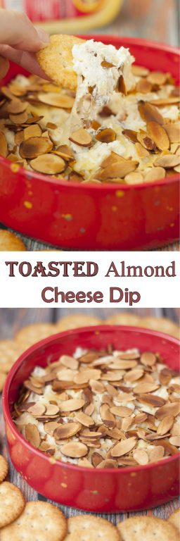 Toasted Almond Cheese Dip recipe is a quick and easy dip recipe for the holidays or Super Bowl game day appetizer idea! Who doesn't love a hot, creamy cheese dip topped with crunchy sliced almonds?