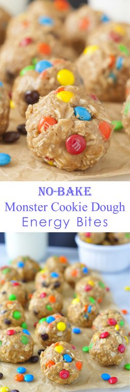 No-Bake Monster Cookie Dough Energy Bites are a healthy, gluten-free recipe suitable for a snack, quick breakfast, or dessert that will satisfy your sweet tooth without being loaded with sugar!