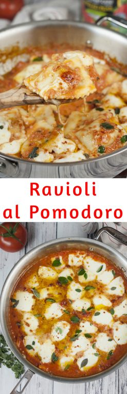 This easy Ravioli al Pomodoro recipe is an easy Italian one skillet meal made with San Marzano tomatoes, fresh mozzarella cheese, and absolutely packed with flavor! This dinner is restaurant-quality!