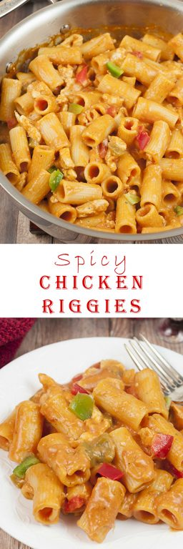 This Spicy Chicken Riggies recipe is one of my favorite Italian pasta dishes with the perfect amount of kick to it in a creamy tomato sauce. The whole family will love this easy dinner, weeknight meal, or holiday food idea!