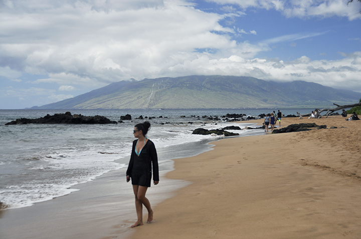 Walking the beach at the Hyatt Regency Maui in Hawaii while on vacation.