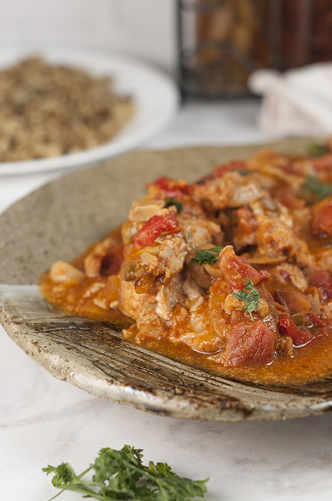 This hearty Chicken Cacciatore is so easy to make and the rich, thick tomato broth is delicious. We love it served over pasta or with a side of rice and it's the perfect choice for Italian night dinner!