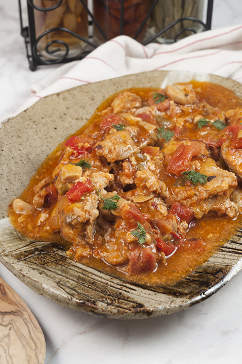 This hearty Chicken Cacciatore is so easy to make and the rich, thick broth is delicious. We love it served over pasta or with a side of rice and it's the perfect choice for Italian night dinner!