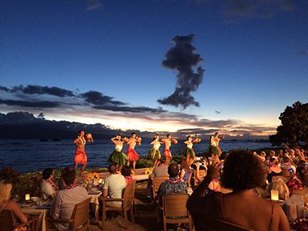 The hula dancers at the Feast at Lele Luau in Maui, Hawaii.