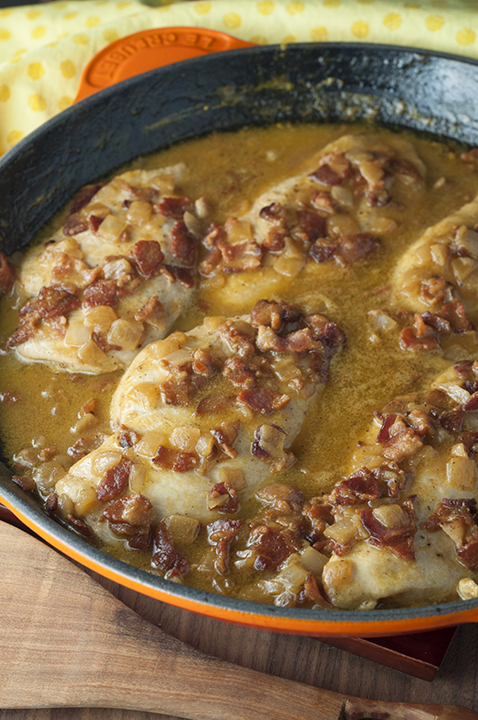 Maple Mustard Bacon Chicken Skillet where the chicken comes out super tender and the creamy sauce is to die for! This easy chicken dinner recipe is full of flavor and will become a new family favorite!