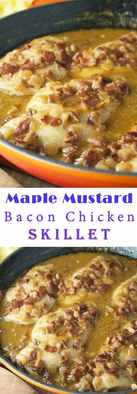 One Pan Quick and Easy Maple Mustard Bacon Chicken Skillet where the chicken comes out super tender and the creamy sauce is to die for! This easy chicken dinner recipe is full of flavor and will become a new family favorite!