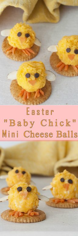 Baby Chick Mini Cheese Balls recipe with bacon and cheddar would be the cutest addition to your holiday table for an Easter appetizer idea or a fun snack idea! They are so easy to make and perfect for adults and kids to eat on the Easter holiday.