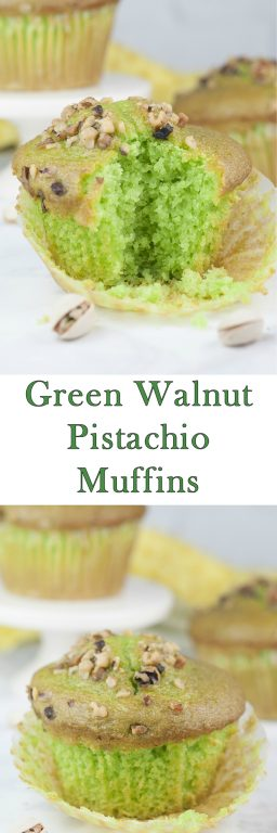 Easy, moist Green Walnut Pistachio Muffins recipe that is fitting for St. Patrick's day breakfast, dessert, or Easter brunch idea! You'll love that special crunch from the toasted nuts on top!