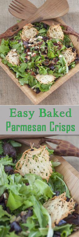 Easy 1 ingredient recipe for Baked Parmesan Crisps is a gluten-free, low carb snack or perfect addiction to a salad to make it look fancy for dinner guests! Add them on top of soup or any salad!