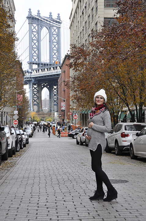Photo after walking across the Brooklyn Bridge in DUMBO, Brooklyn at 12 weeks pregnant.