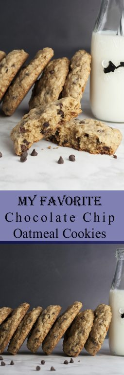 This is My Favorite Chocolate Chip Oatmeal Cookies recipe that I'm finally sharing. I bake these simple cookies more than any other chocolate chip cookie as they are chewy, packed with chocolate, and come out perfectly every time!