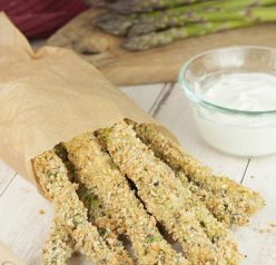 Crispy Baked Parmesan Asparagus Fries with Creamy Lemon Dipping Sauce is a great recipe for a summer BBQ, summer side dish idea, or a picnic - no need for a deep fryer with this recipe!