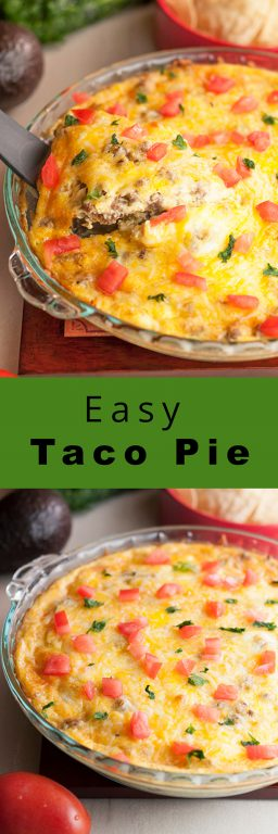Easy Taco Pie with ground beef is a great recipe when you're wanting a low carb, gluten free, easy Mexican dinner idea without complicated ingredients and it comes together so quickly!