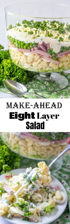 Gorgeous Make-Ahead Eight Layer Salad recipe for the most foolproof, colorful salad great for entertaining, potlucks, or summer picnic side dish idea! It is so easy and you can make it ahead of time for a party, Memorial Day, 4th of July or Father's Day BBQ!