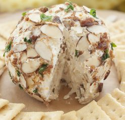 Creamy Buttermilk Ranch Bacon Cheese Ball loaded with cheese, bacon and coated with sliced almonds - a quick and easy appetizer recipe for any occasion ready in 10 minutes or less!