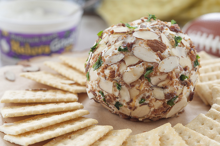 Buttermilk Ranch Bacon Cheese Ball packed with cheese, bacon and coated with sliced almonds - a quick appetizer recipe for game day or the holidays and ready in 10 minutes or less!