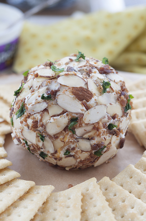 Buttermilk Ranch Bacon Cheese Ball packed with cheese, bacon and coated with sliced almonds - a quick appetizer recipe for game day or the holiday appetizer idea and ready in 10 minutes or less!