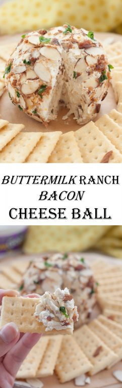 Creamy Buttermilk Ranch Bacon Cheese Ball loaded with cheese, bacon and coated with sliced almonds - a quick and easy appetizer recipe for any occasion, holiday appetizer, gameday snack, and ready in 10 minutes or less!