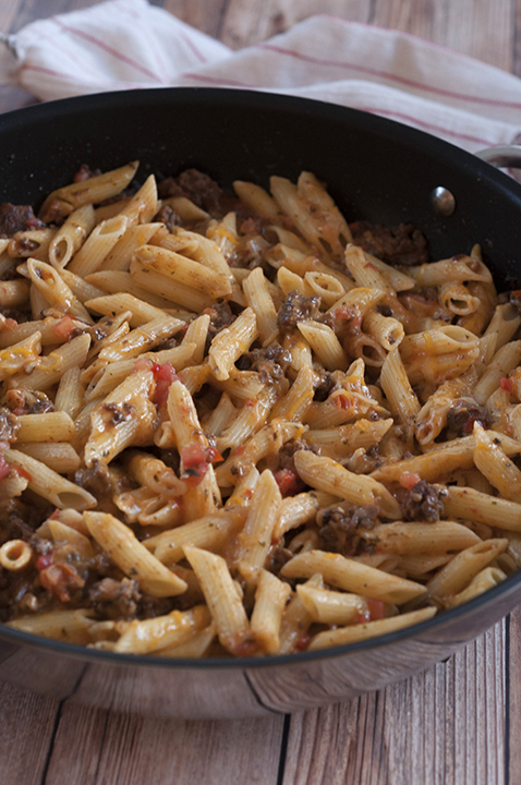 Cheesy Taco Pasta is an easy ground beef dinner idea with ingredients you most likely already have in your kitchen! This recipe is my go-to meal when I don't know what else to make!