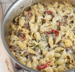 This easy dinner recipe for Philly Cheesesteak Pasta is a cheesy comfort food dish that will become a new family favorite!