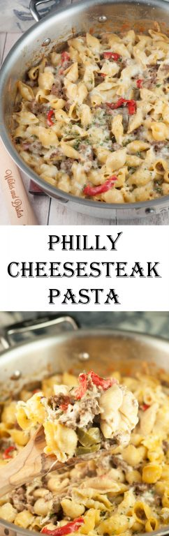 An easy dinner recipe for Philly Cheesesteak Pasta is a cheesy comfort food dish loaded with cheese and peppers that will become a new family favorite meal!