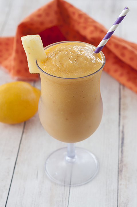 Four ingredient Vitamin C Booster Smoothie recipe: a nice thick, cold drink to help fight colds and germs this fall. Keep that immune system nice and strong with a delicious smoothie!