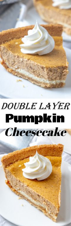 Easy to make, Rich and creamy Double Layer Pumpkin Cheesecake recipe is a fall classic, and great alternative to pumpkin pie, especially for those cheesecake fans out there! This is the perfect fall holiday, Thanksgiving, and Christmas dessert!