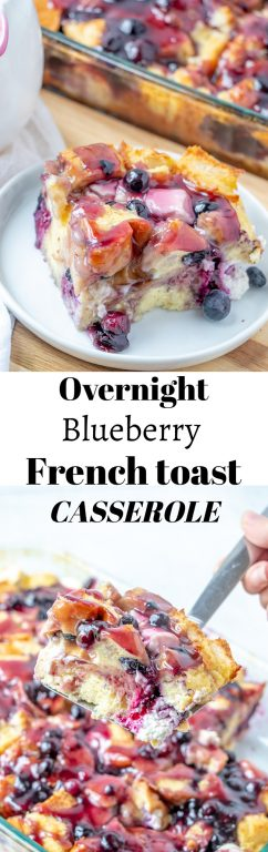 Classic Overnight Blueberry French Toast Casserole is the perfect breakfast or brunch dish that makes for a beautiful presentation and tastes as good as it looks! This is great for an easy potluck recipe, dish to pass at a shower, or a holiday breakfast idea!