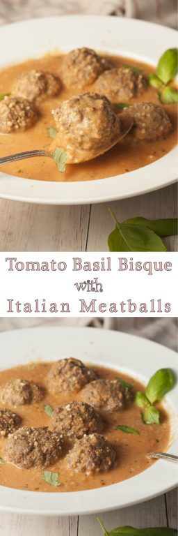 Simple Tomato Basil Bisque with Italian Meatballs is a smooth, rich bisque recipe for a comforting fall dinner idea!