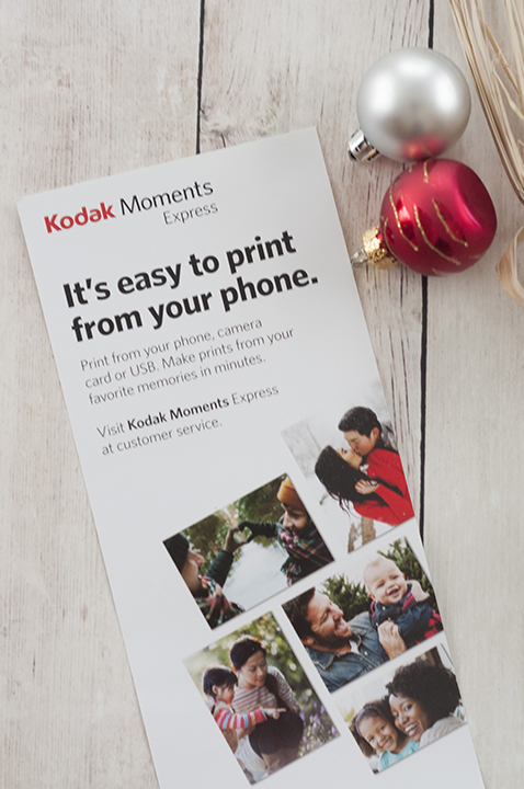 Kodak moments kiosk prints photos directly from your smartphone.