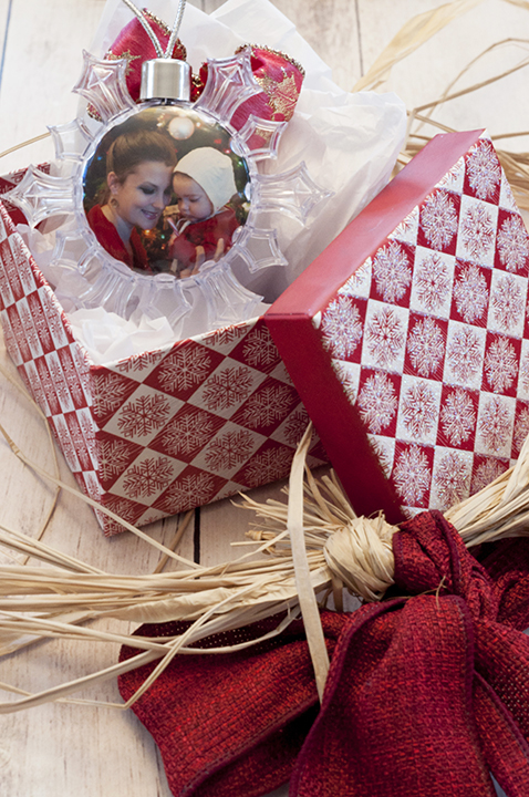 Snowflake ornament holiday gift made at the Kodak Moments Kiosk in Wegmans, Rochester NY.