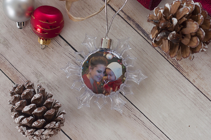 Snowflake ornament holiday gift made at the Kodak Moments Kiosk in Wegmans.