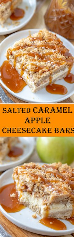 Salted Caramel Apple Cheesecake Bars is a great, easy fall baking recipe with a shortbread crust, cheesecake filling, and an irresistible streusel topping. The salted caramel drizzle makes these the perfect fall dessert, Thanksgiving dessert or Christmas dessert!