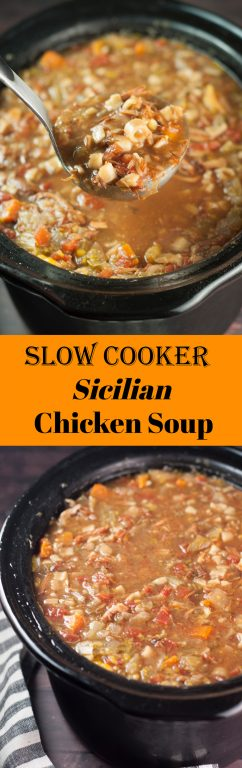 The best copy-cat recipe for Carrabba's Italian Grill, this slow Cooker Sicilian Chicken Soup is a hearty comfort food Italian soup recipe for the fall and winter! You will love it because it's made right in the crock pot, loaded with vegetables and pasta!