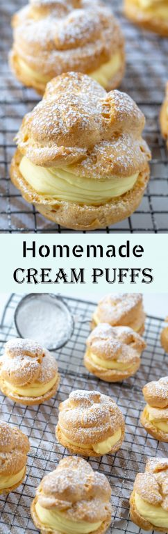 My famous and BEST Homemade Cream Puffs recipe: light and airy cream puffs filled with vanilla pudding cream are always a hit with family and anyone I've served them to. If you want an impressive, pretty dessert for Christmas or any holiday, this one is it!