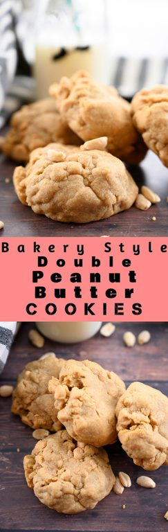 Thick & Chewy Bakery Style Double Peanut Butter Cookies with the perfect gooey center will be the only peanut butter cookie recipe you will ever need! It's guaranteed to be a favorite crowd-please among your family and friends.