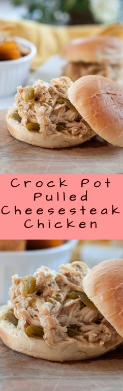 Crock Pot Pulled Cheesesteak Chicken recipe is an incredibly easy family meal made right in your slow cooker and packed with flavor! You can serve it for a party, Super Bowl, or potluck!