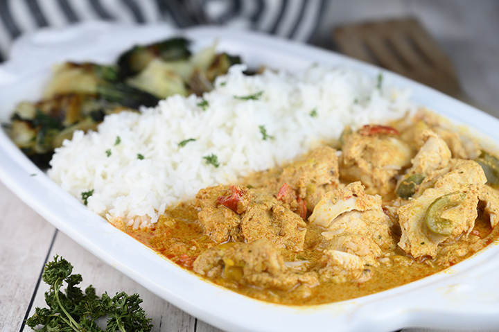 Wegmans Food You Feel Good About Easy Thai Style Red Curry Chicken: boneless chicken thighs simmered in a red curry and coconut milk sauce. If you are a lover of Thai food you will be a huge fan of this meal!