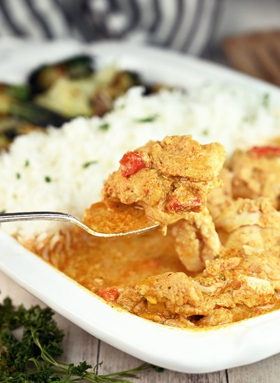 Wegmans Cheater Thai Style Red Curry Chicken: boneless chicken thighs simmered in a red curry and coconut milk sauce. If you are a lover of Thai food you will be a huge fan of this meal!
