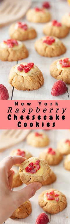 Easy New York Raspberry Cheesecake Cookies recipe perfect for Christmas, Valentine's Day, Easter dessery, Mother's Day dessert, or any holiday dessert! Your favorite dessert made into perfectly balanced sweet and tart cookies with fresh raspberries or other fruit on top!