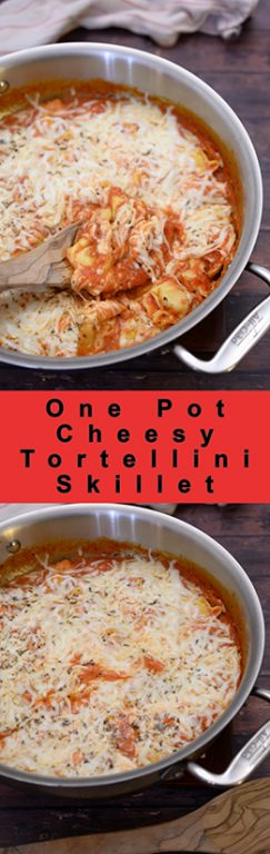 Simple One Pot Cheesy Tortellini Skillet is an easy Italian dinner idea made all in one pan for easy cleanup and delicious tasting Italian food the whole family will love!