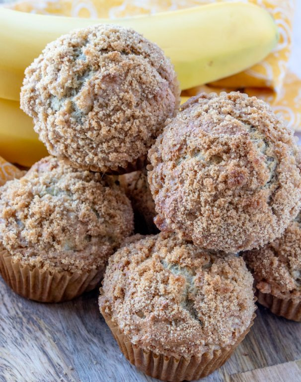 Easy Banana Crumb Muffins recipe: make these for a breakfast recipe for the family, brunch dish to pass, Easter brunch recipe idea, dessert or just because! The brown sugar crumb topping is seriously the best part!