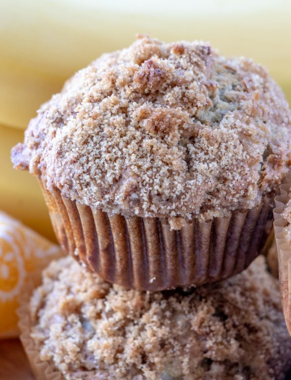 Banana Crumb Muffins recipe: make these for a breakfast dish, brunch dish to pass, Easter brunch recipe idea, dessert or just because! The brown sugar crumb topping is to die for!