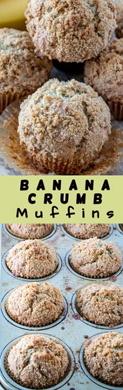 Easy Banana Crumb Muffins recipe: make these for a breakfast dish, snack, brunch dish to pass, Easter brunch recipe idea, dessert or just because! The crumb topping is amazing!