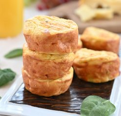 These Mini Sausage, Spinach and Cheese Frittatas are a fun change-of-pace breakfast recipe or on-the-go snack idea packed full of protein!