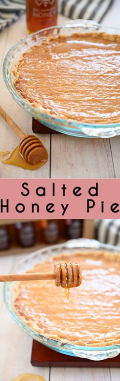 Very simple Salted Honey Pie recipe is an inviting sweet and salty flavored dessert with an irresistible custard filling, perfect flakey pie crust, and is absolutely delectable! Great for Easter!