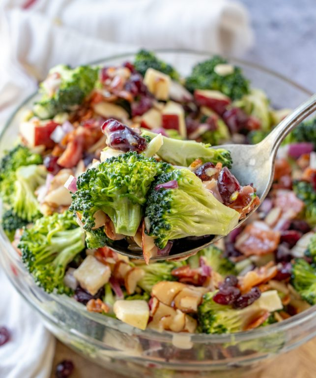 Simple Bacon and Apple Broccoli Salad is the perfect side dish, potluck or summer picnic side dish loaded with bacon, almonds, and sweet apples! You can make this ahead of time with the homemade dressing in less than 20 minutes.