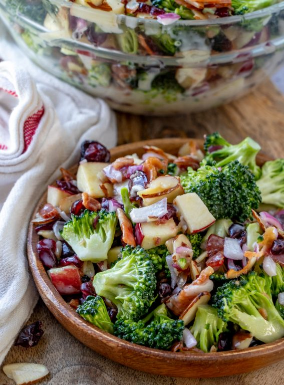 Easy Bacon and Apple Broccoli Salad is the perfect, party, potluck or summer picnic side dish loaded with bacon, almonds, and sweet apples! You can prep this side dish salad with the homemade dressing in less than 20 minutes.