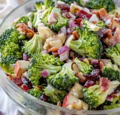Bacon and Apple Broccoli Salad is the perfect side dish, potluck or summer picnic side dish loaded with bacon, almonds, and sweet apples! You can make this ahead of time with the homemade dressing in less than 20 minutes.