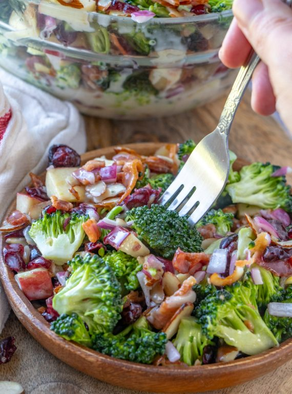 Easy Bacon and Apple Broccoli Salad is the perfect, party, potluck or summer picnic side dish loaded with bacon, almonds, and sweet apples! You can prep this side dish salad with the homemade sweet dressing in less than 20 minutes.